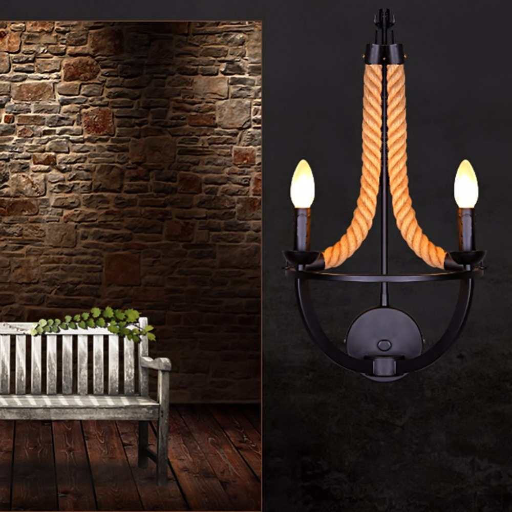 Retro Rope Wall Lamp Vintage Industrial Wall Lights Rustic Sconce Wall Light Free Shipping vintage loft personality rope wall sconce light hand knitted hemp rope wall lamp retro aisle wall sconce wall industrial light