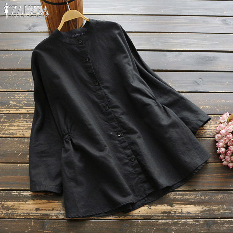 Women Linen Blouse ZANZEA 2019 Vintage Long Sleeve Shirts Woman Button Chemise Female Elastic Waist Blusas Oversized Woman Tunic
