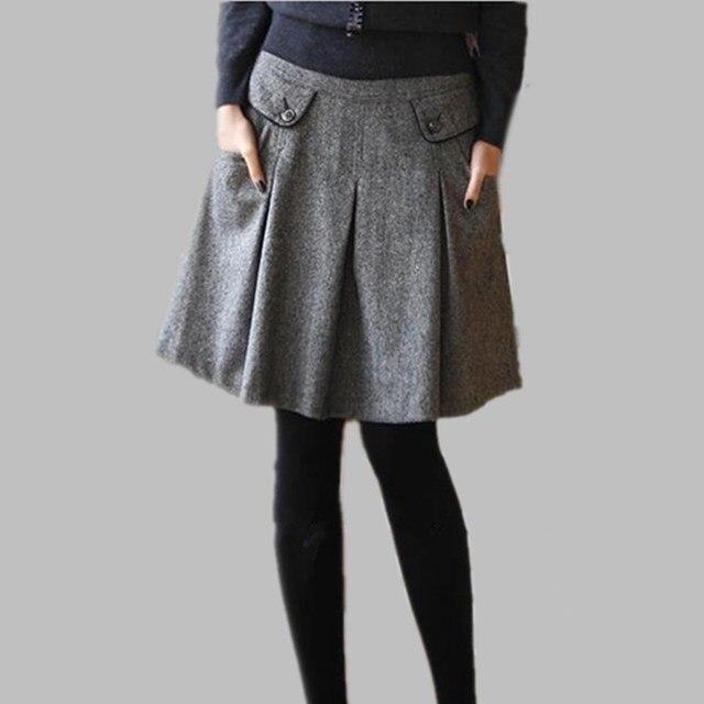 f73ad081a € 20.96 10% de DESCUENTO|Nuevo 2019 Otoño Invierno primavera Faldas de  mujer de talla grande Falda plisada de lana de bolsillo Casual faldas S 6XL  ...