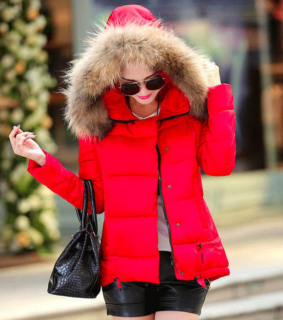 Women coat cotton jacket down parkas with large luxury hooded ...
