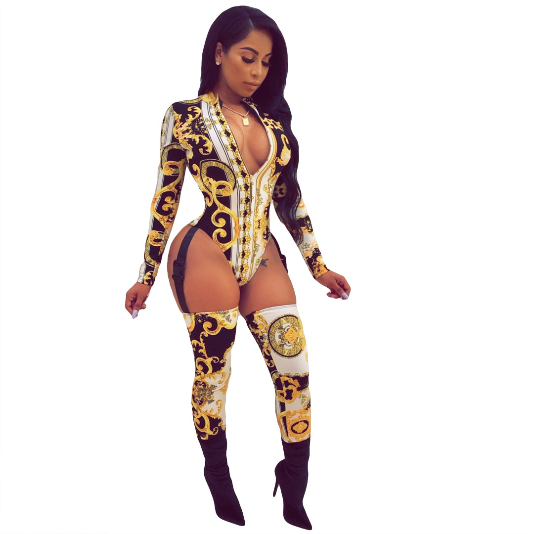 e0f13fca126f1 US $12.39  sexy women Insert buckle hollow out zip open long sleeve bodycon  club party bodysuit jumpsuits rompers playsuits 3colors CY1077-in ...