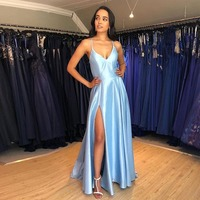 Simple Long Evening Dress Light Sky Blue Satin Cheap Vestido De Noite Crisscross Back Women Occasion Formal Evening Party Gowns