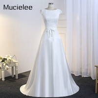 Mucielee Real Vestido De Noiva Simples Lace And Satin Wedding Dress Bride Gown Illusion Back Floor