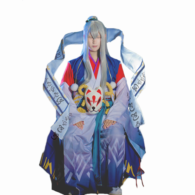 Abeno Seimei Cosplay Jogo Kimono Cetim Onmyoji Judge Moyidanxin cosplay  costume with mask and wig