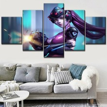 Canvas Art Print Sniper Widowmaker Overwatch Game Painting Modern Living Room Or Bedroom Wall Decor 5 Piece Modular Picture