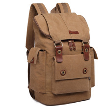 Mens Vertical Canvas Computer Backpack Outdoor Large Capacity Crazy Horse Leather Retro Multifunction Bag