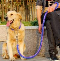 High Quality Genuine Leather Large Dog Leashes Pet Traction Rope Collar Set For Big Dogs Black