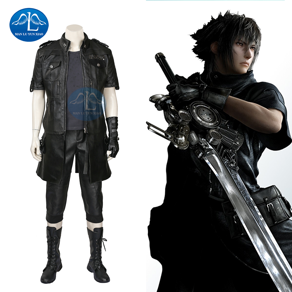 Manuluyunxiao Final Fantasy XV Costum Noctis Lucis Caelum Cosplay Costum pentru barbati Adulti Anime Joc Costum Cosplay Black Jacket Set complet