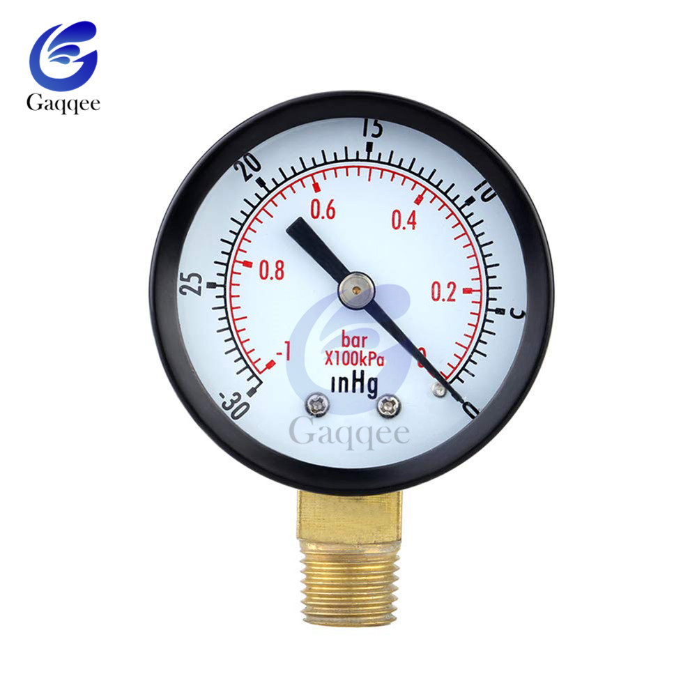 "Portable Dual Scale Dial Gauge 1/4"" NPT -30HG/0PS Vacuum Pressure Meter Gauge Manometer 2"" Dial Display Digital Pressure Gauge"