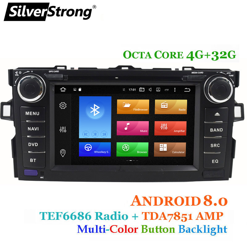 SilverStrong OctaCore Android8.0 2DIN DVD Dell'automobile per Toyota Auris hatchback 4g 32g Auto GPS Radio Per Toyota Auris car stereo