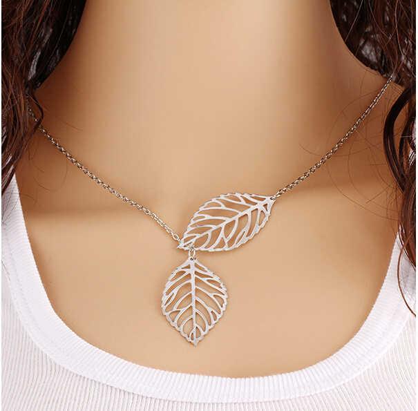 Alta calidad Bijoux Inifity corazón búho cristal Cruz hoja minimalista clavícula colgantes Collares para mujeres joyería cadena collar