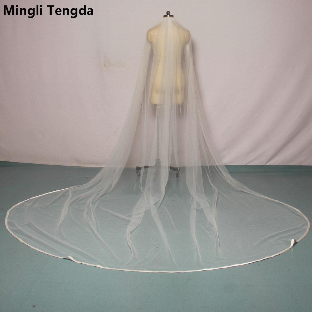Mingli Tengda New 300cm*300cm Ribbon Edge Wedding Veil Cathedral Bridal Veils with Comb Soft One Layers Veil velos de novia 2018