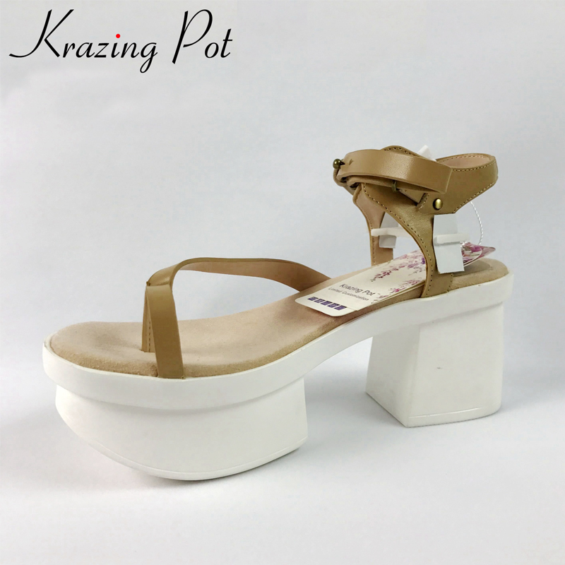 Krazing Pot 2018 genuine leather peep toe wedges high heels women sandals flip flop increased platform modern superstar shoes free shipping 100%real picture women shoes wedges high heels platform luxury ethnic diamond genuine leather peep toe sandals