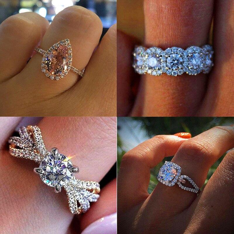 2019 Luxus Weibliche Kristall Zirkon Stein Ring Vintage 925 Silber Hochzeit Ringe Band Versprechen Engagement Ring Neue Jahr Geschenke