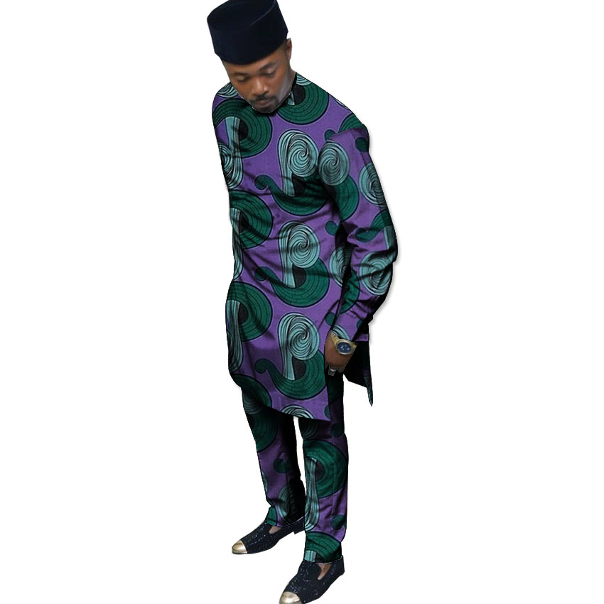 African Print Mens Set Ankara Fashion Pattern Men Dashiki Tops With Trousers 2 Pieces Men Outfit Customized