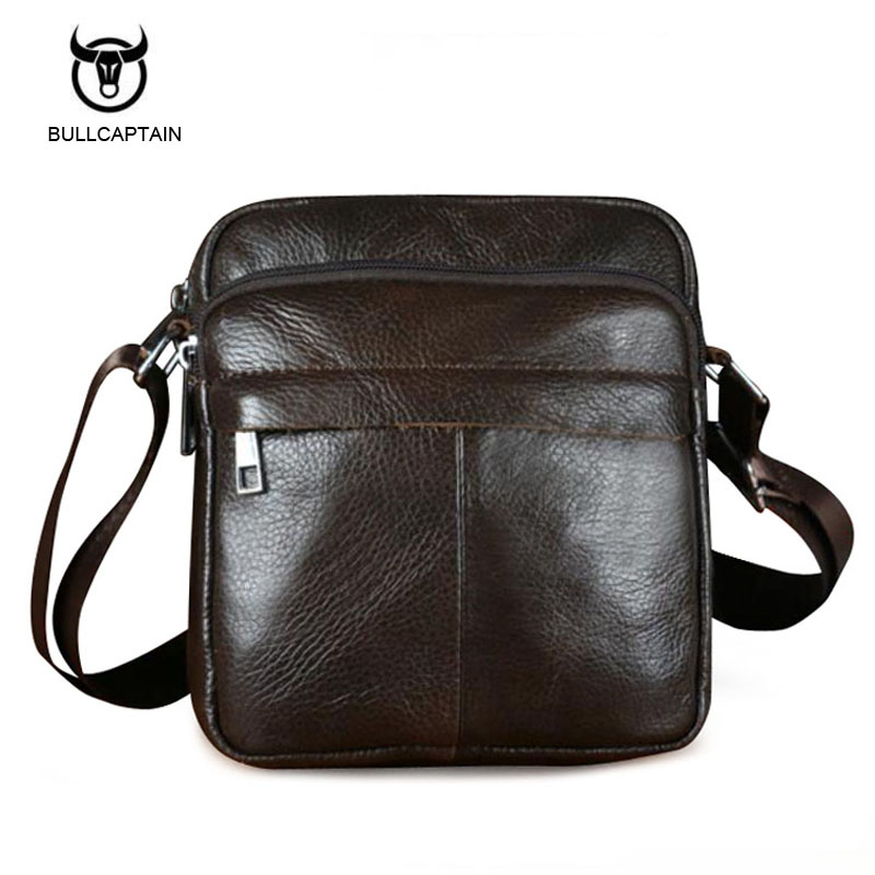 Bullcaptain Genuine Leather Men Shoulder Bags New Fashion Hot Male Handbag Small Crossbody Messenger Bag Travel Bolsa Satchels hot 2017 genuine leather bags men high quality messenger bags small travel black crossbody shoulder bag for men li 1611