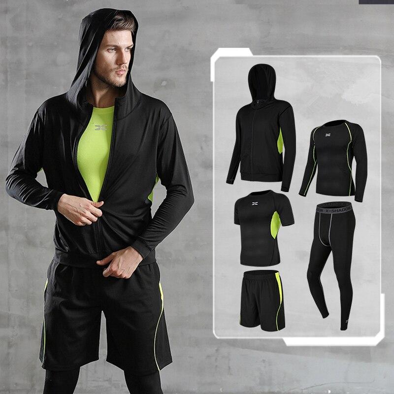 Hommes Sport costumes 5 pièces/ensemble Compression Fitness course ensemble basket-ball survêtement vêtements séchage rapide Gym Jogging vêtements d'entraînement