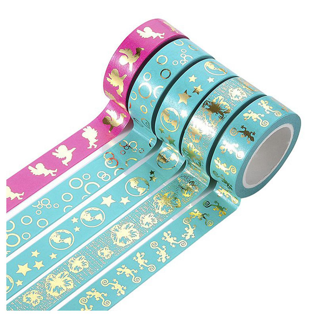 PPYY NEW -Decorative DIY Tape Washi Sticky Paper Foil Masking Adhesive Washi Tape For Scrapbooking DIY Decoration 5xRoll, 9cmx5m creative life edition washi paper tape 9cm delicacy small objects decorative tape