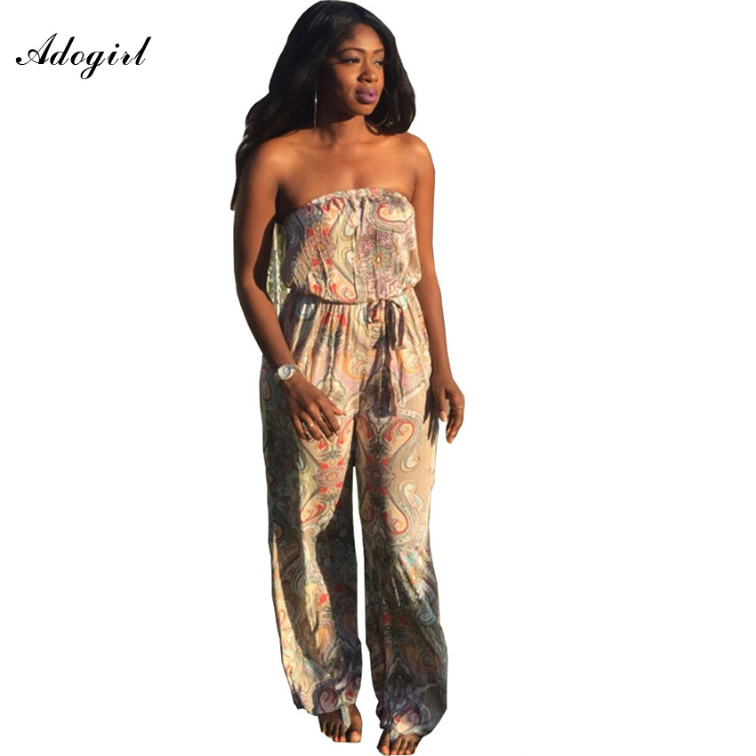21acf48807b7 Adogirl Overalls For Women Plus Size 3XL Jumpsuit Real Rushed Loose Sashes  Print Sexy Chiffon Wrap Chest Comfortable Jumpsuit-in Jumpsuits from Women s  ...