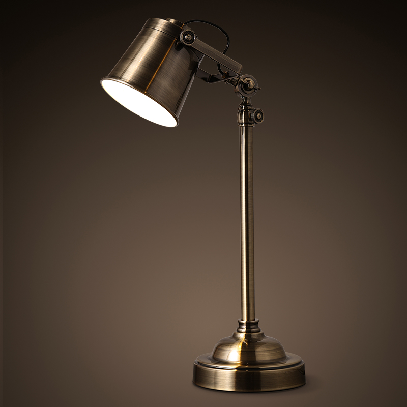 NEW lamp Loft American retro style bedroom bedside lamp iron copper industrial rotary work table creative Table Lamps GY136