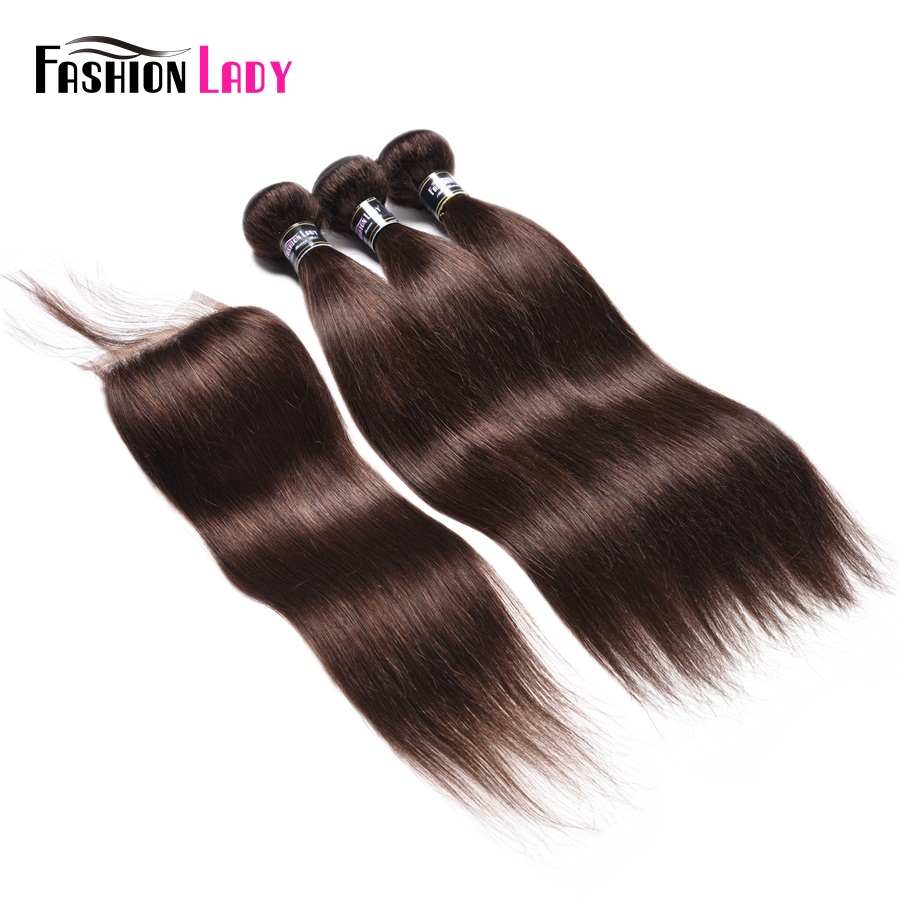Fashion Lady Pre-Colored 3 Bundles With Lace Clousre 2# Natural Brown Color Malaysian Straight Human Hair Products Non-Remy Hair