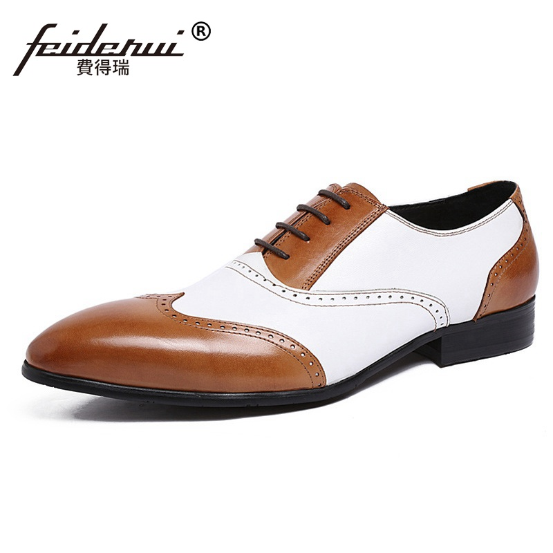 Luxury Brand Man Brogue Shoes Genuine Leather Wing Tip Carved Oxfords Vintage Pointed Toe Men's Handmade Male Flats XE62