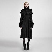 Панк готический Для женщин Длинные шаль оформлены Лолита Пальто для будущих мам стимпанк осень зима черный Шерстяные пиджаки милые Тренчи