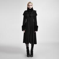 Панк готический женский длинный шаль украшенный пальто Lolita стимпанк осень зима черные шерстяные пальто милые тренчи