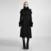 Punk Gothic Women Long Shawl Decorated Lolita Coats Steampunk Autumn Winter Black Wool Coats Sweet Cute Trench Overcoats