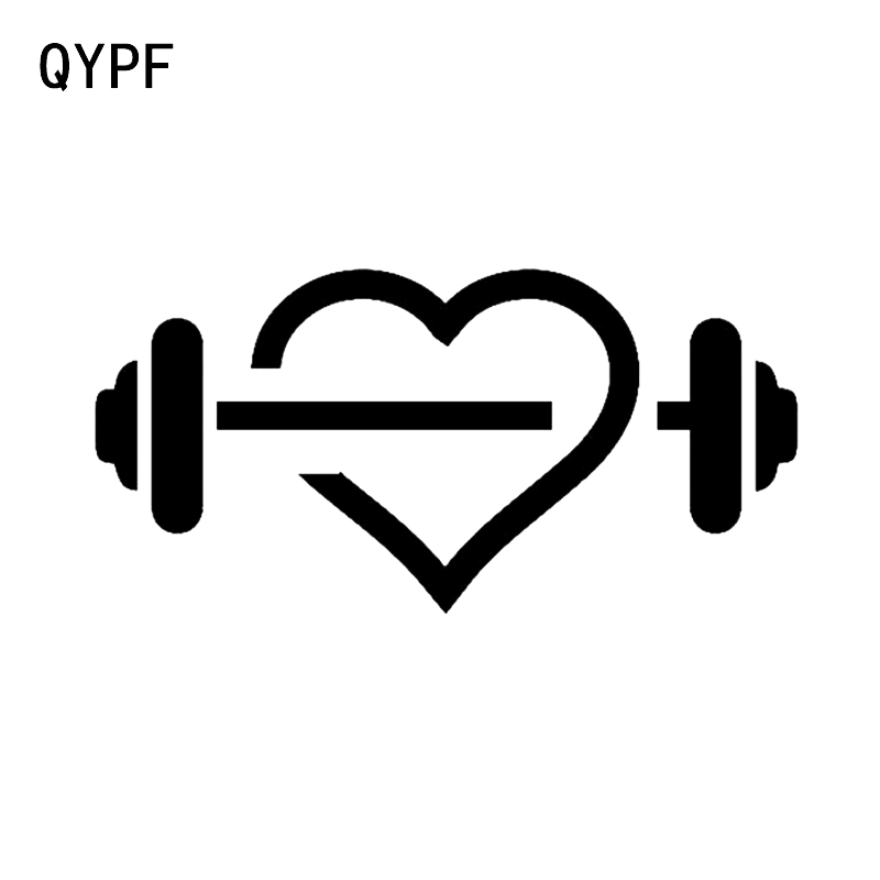 QYPF 16.3*8CM Unique Gym Heart Shape Fitness Dumbbell Sport Decor Car Sticker High Quality Silhouette Vinyl C16-0901