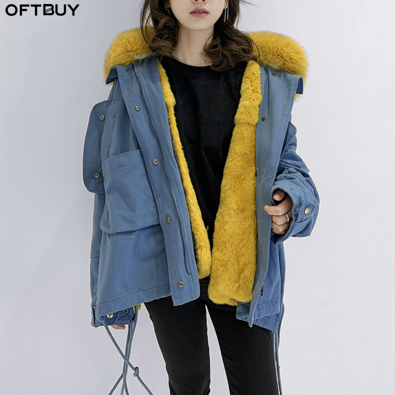 OFTBUY Women Parka Real Fur Coat Winter Jacket Women Natural Raccoon Fur Collar Rex Rabbit Fur Lining Korea Fashion Detachable