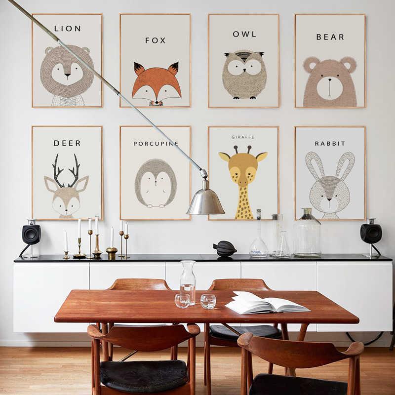 Moderno e minimalista bonito dos desenhos animados das crianças quarto a4 pintura em tela arte impressão cartaz imagem da parede nordic casa decoração do quarto