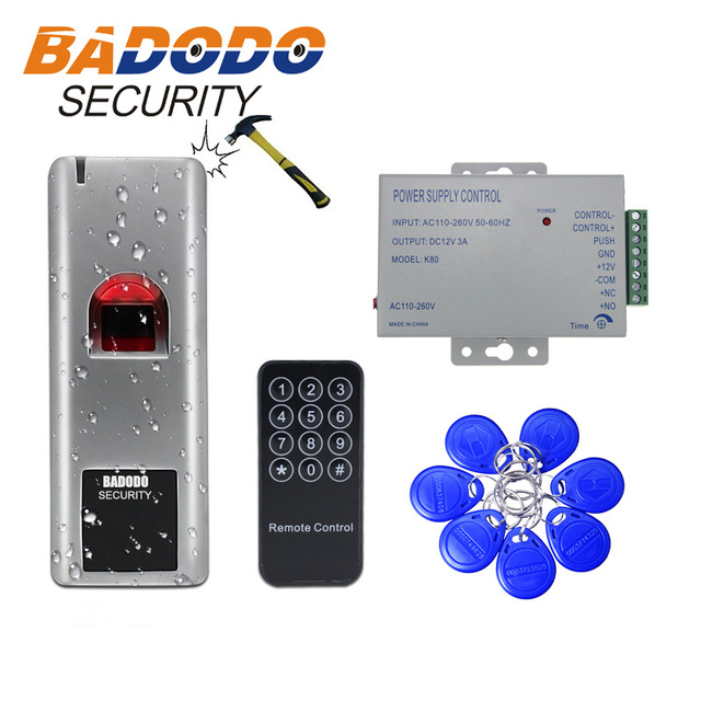 12V 3A power adapter 10 tags waterproof Biometric Fingerprint RFID reader 125KHZ EM IC 13.56mhz  Door lock Access Control System
