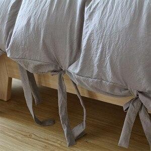 Image 3 - Funda de edredón gris de estilo moderno y Simple, juego de cama con lazo, suave y sedoso, transpirable, de lino, Queen y King