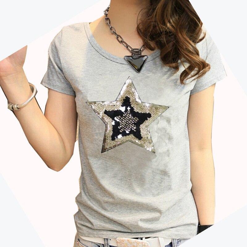 Mujeres verano manga corta algodón Delgado cinco puntas estrella bordado lentejuelas camisetas camiseta para mujer camisa Mujer