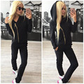 Black Hoodies Women Clothes Sets 2016 Fashion Fall Winter Pink Female Set Tracksuits  2 Piece Set Women Pants Set DYF240