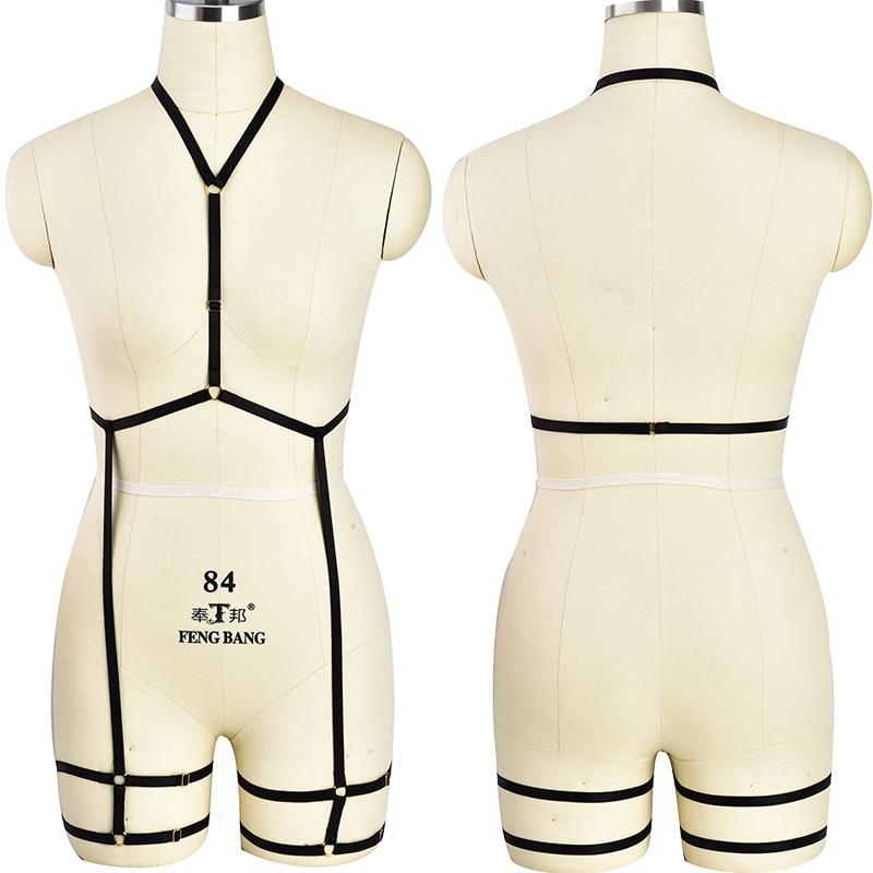 6af32c1f98f Women Body Harness Bondage Garter Belt Elastic Adjust Sexy Lingerie  Harajuku Goth Fetish Halloween Top Cage Bra set