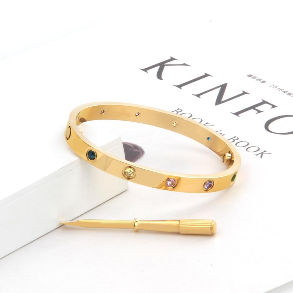 18K WHITE GOLD PLATED TITANIUM STEEL LOVE BRACELET WITH CZ STONES SIZE 21 cm