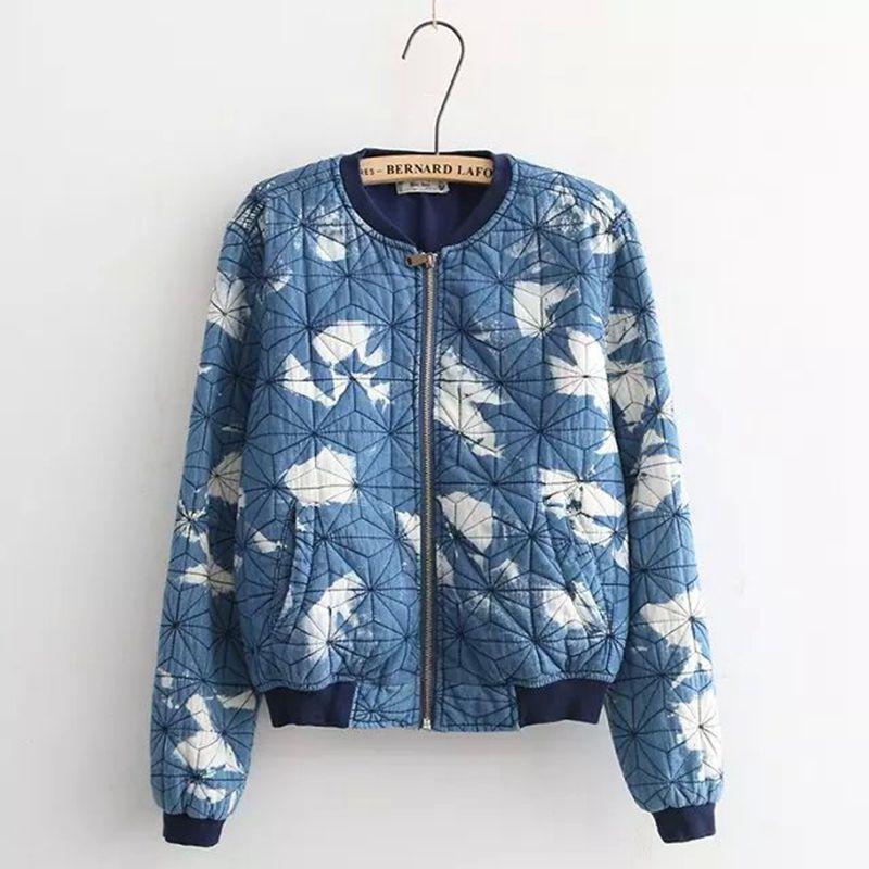 Wholesale Mori Girls Jackets 2017 Summer Chinese Style Printed Cotton Denim Baseball Clothing Jackets Bouza Stained