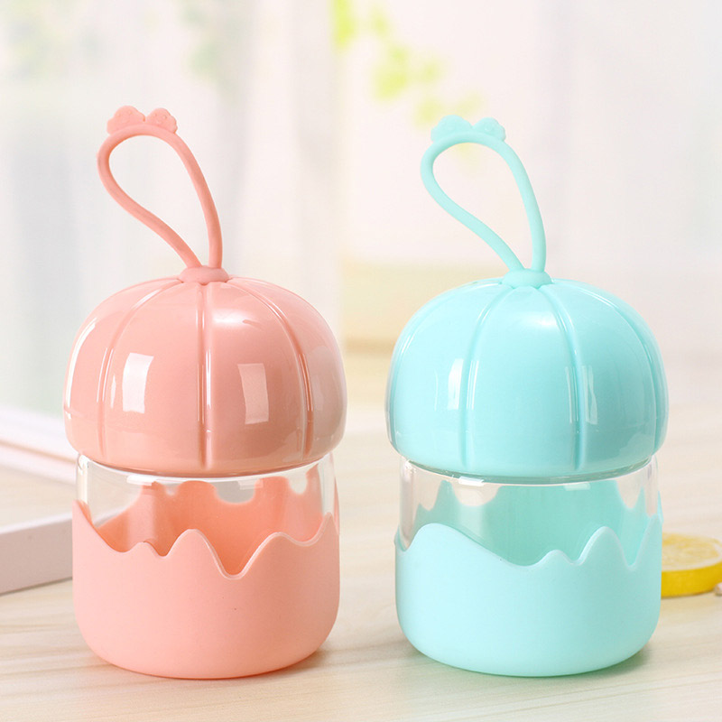 180ML Adult Baby Creative Glass Bottle For Water Mini Pumpkin Cups Hand holder Cups Anti-scald Silicone Bottle Cute Drinking Cup