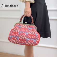 2018 Angelatracy New Design Sea Wave Pattern Women Tote Bag Red Women Big Bags Silk Brocade Handbag High Quality Famous Brand цены