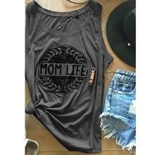 Style Women Casual MOM LIFE Letter Printing Sleeveless Vest Summer Fashion Slim Tank Tops