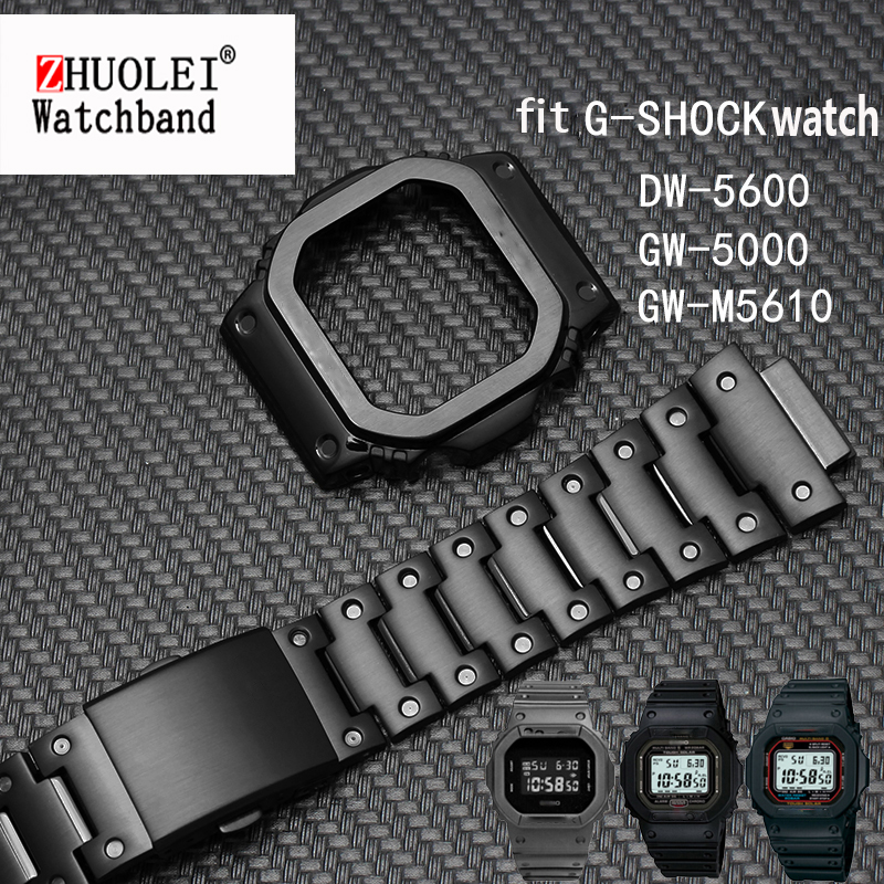 316L Stainless Steel Watchband For G-SHOCK  DW5600 GW-M5610 GLX5600 GW-5000 5035  DW-5000 Casio Protective Metal Case + Strap