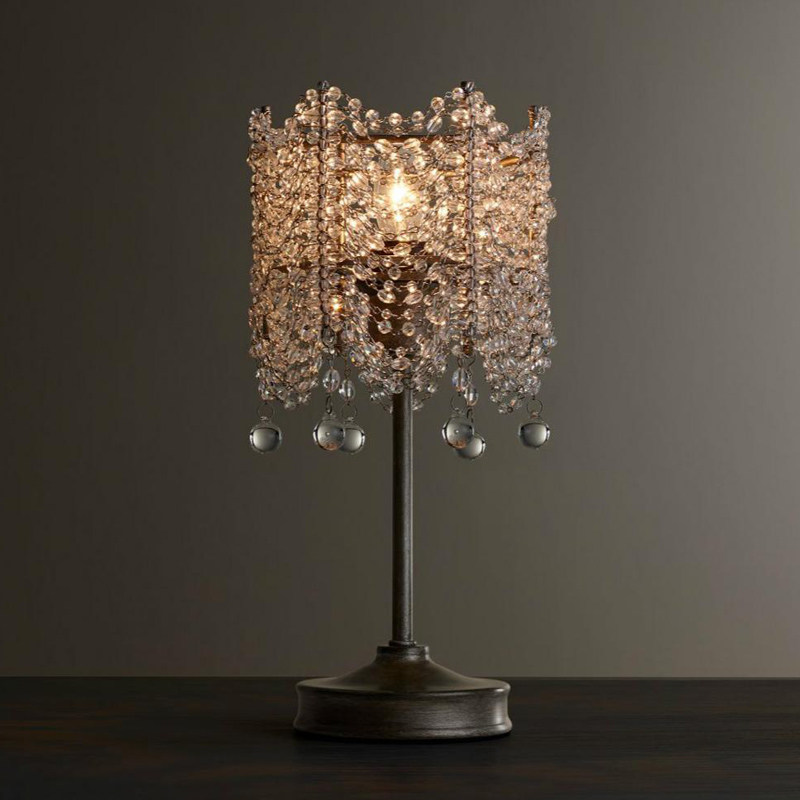 Crystal retro table lamps bedroom bedside lamp Village princess room festival lights living room dinner room desk lamps ZA923528