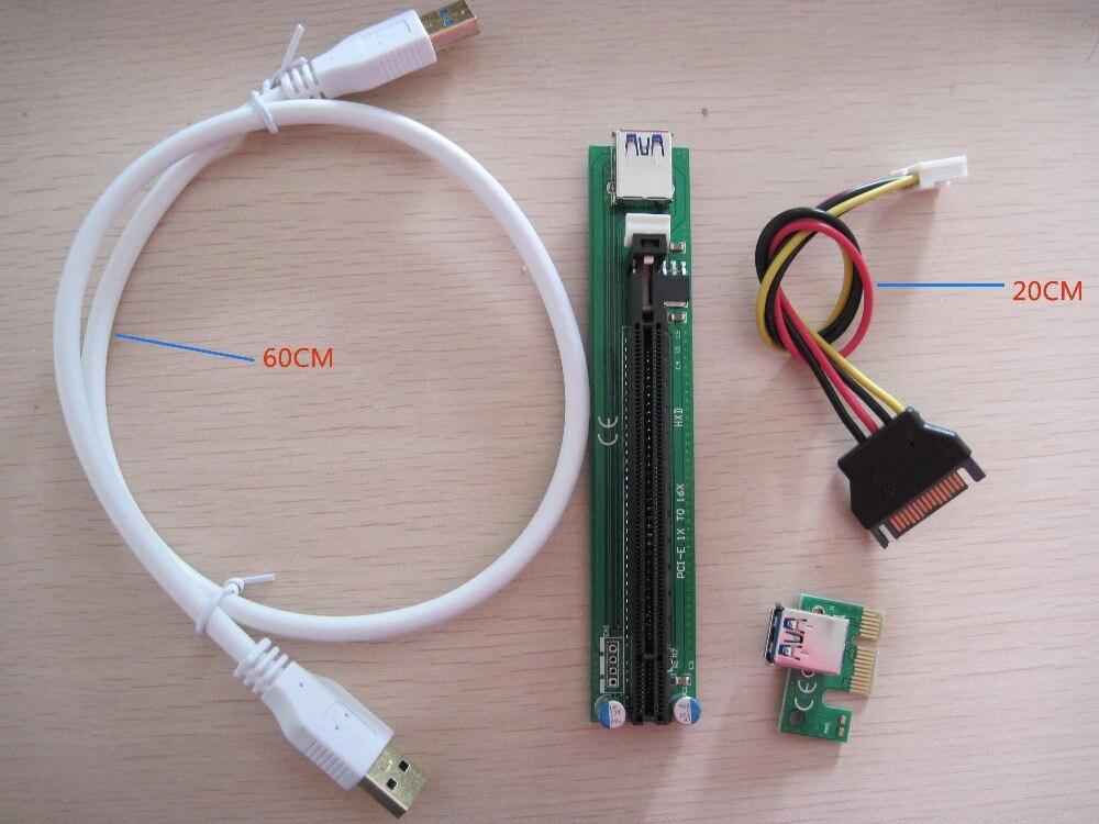 bilder für 10 STÜCKE Neue PCI PCI-E Express1X zu 16X riser kabel mit USB3.0 datenübertragung linie SATA netzteil kabel für BTC