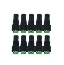 10 unidades/lote de adaptador de enchufe de toma de corriente CC hembra para cámara CCTV de 5,5x2,1mm, para cinta de luz LED de Color único 5050 3528 5630 5730