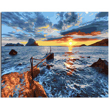 RIHE Sunrise Seascape-DIY Painting by Numbers for Adults, Paint Number Kit On Canvas Beginners, Wall Art picture