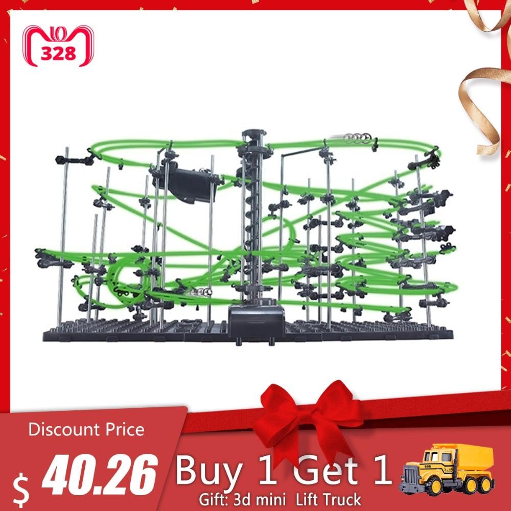 Bricolage jouets éducatifs Spacerail niveau 4 lueur dans le marbre sombre montagnes russes avec des boules en acier jouets pour enfant 26000mm 231-4