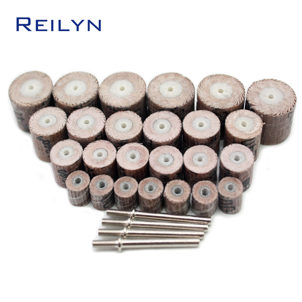 30 Pcs Sand Paper Polishing Bits Abrasive Mops-wheel Spindle Mops Sand Paper Wheel Mounted Flap Wheels Grinding Bits