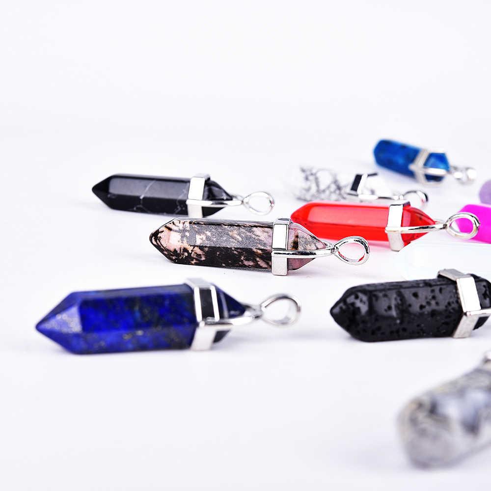 Asingeloo 弾丸天然石ペンダントタイガーアイラピスラズリサードニクスラブラドライトアベンチュリン六角形ポイント振り子列